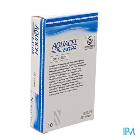 Aquacel Extra Pansement Hydrofiber + renf.fibr. 4x10cm 10  -  Convatec
