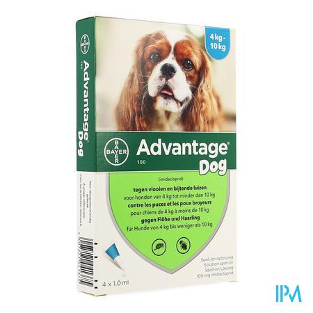 Advantage 100 Honden 4<10kg 4x1,0ml