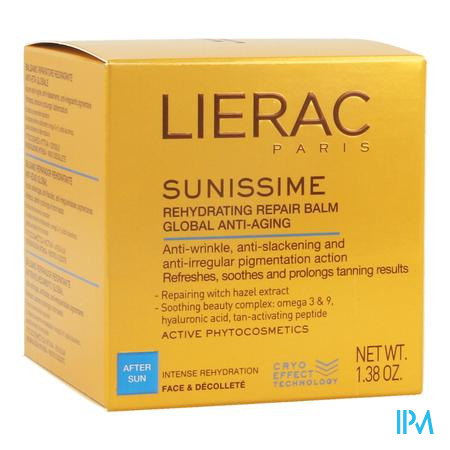 Afbeelding Lierac Sunissime Herstellende Rehydraterende After-Sun Balsem met Globale Anti-Ageing voor Gelaat en Decolleté 40 ml.