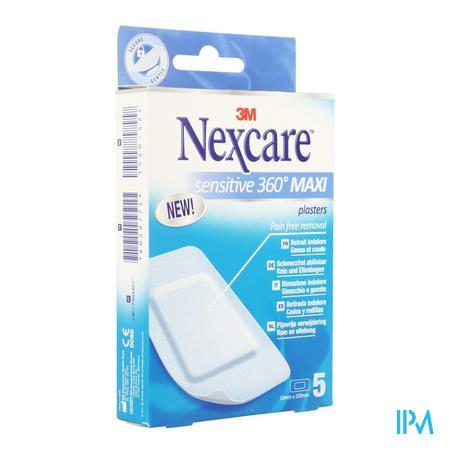Afbeelding Nexcare Sensitive 360° MAXI Pleisters voor Knie en Elleboog voor Pijnvrije Verwijdering 5 Pleisters van 50 mm x 100 mm.