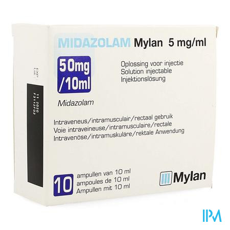 MIDAZOLAM MYLAN 50 MG/10 ML INJ 5 MG/ML