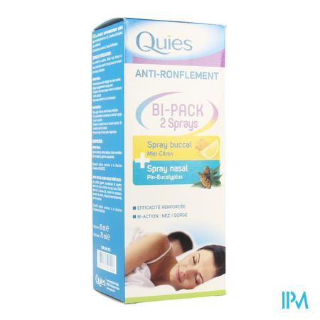 Quies A/snurken Bipack Spray Neus 15ml + Mond 70ml