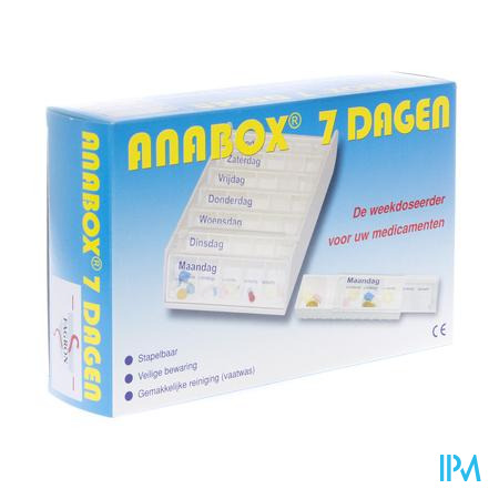 Anabox Pillendoos Wit 7 Dagen Nederlands 1 stuk