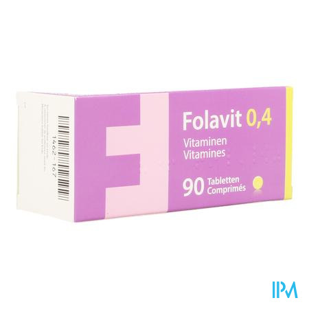 Afbeelding Folavit Foliumzuur 0,4 mg 90 Tabletten.
