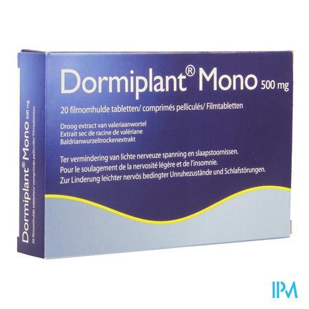 Afbeelding Dormiplant Mono 500 mg Ter Vermindering van Lichte Nerveuze Spanning en Slaapstoornissen 20 tabletten.