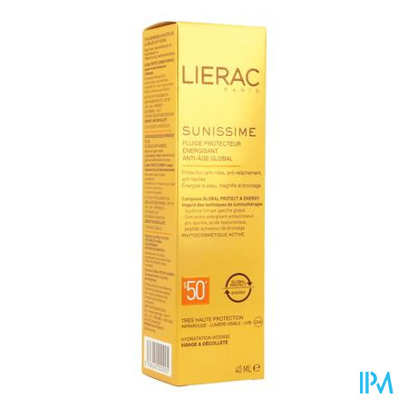 Afbeelding Lierac Sunissime Verkwikkende Zonnefluide SPF 50+ met Globale Anti-Ageing voor Gelaat en Decolleté 40 ml.