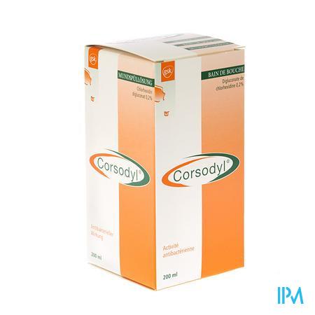 Corsodyl 2 mg/ml Solution Bain Bouche 200 ml