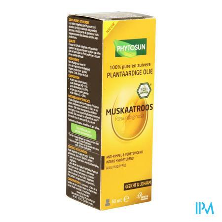 Afbeelding Phytosun Muskaatroos Plantaardige Olie Intens Hydraterend en Anti-Rimpel en Verstevigend voor Alle Huidtypes Pompje 50 ml.