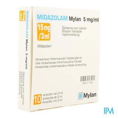 MIDAZOLAM MYLAN 15 MG/3 ML INJ 5 MG/ML 1