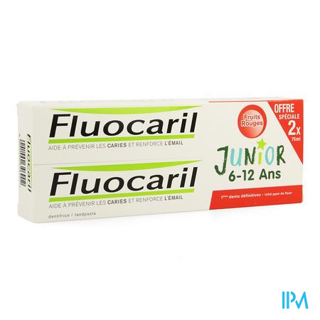 Duo Fluocaril Junior Rood Fruit 2x75ml