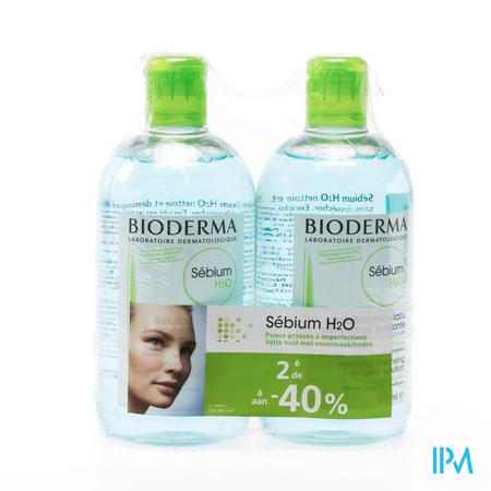 Farmawebshop - BIODERMA SEBIUM H2O DUO 2X500ML (2DE 40%)