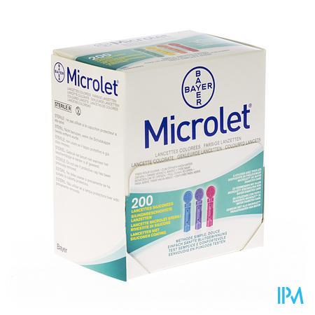 Bayer Microlet Lancetten Steriel Gekleurd 200 stuks