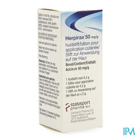 Herpirax 50mg/g Huidstift 1 X 4,2g