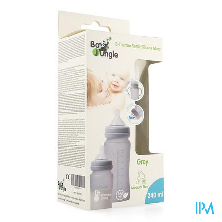 B-thermo Glass Bottle 240ml Grey
