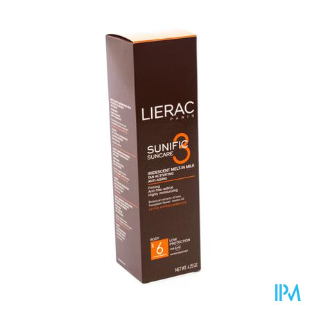 Afbeelding Lierac Sunific Smeltzachte Geïriseerde Zonnemelk SPF 6 voor Lichaam 125 ml.