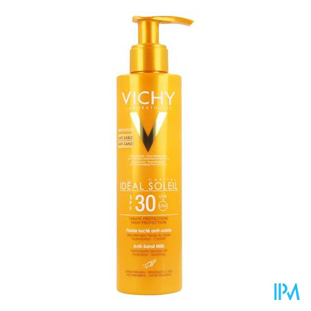 Afbeelding Vichy Ideal Soleil Anti-Zand Vloeibare Zonnemelk met SPF 30 Pomplacon 200 ml.