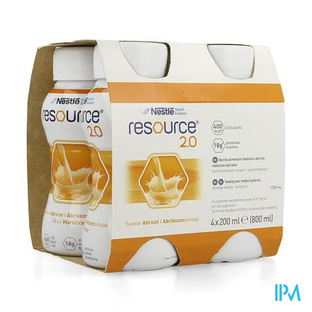 Resource 2.0 Abricot 4x200 ml 12100545  -  Nestle Belgilux