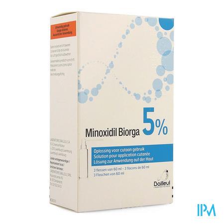 Minoxidil Biorga 5% Opl Cutaan Koffer Fl 3x60ml