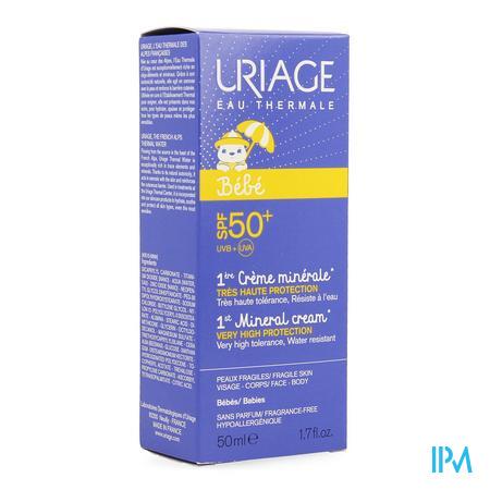 Afbeelding Uriage 1e Minerale Crème met SPF 50+ voor Baby's voor Gelaat en Lichaam Tube 50 ml.