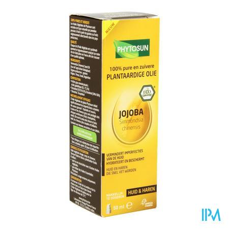 Afbeelding Phytosun Jojoba Plantaardige Olie voor Huid en Haren die Snel Vet Worden Pompje 50 ml.