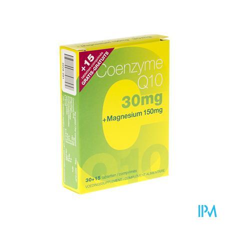 Coenzyme Q10 + Magnésium 30 +15 Comprimés Gratuit 45 comprimés