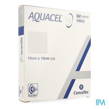 Aquacel Ag Pansement Hydrofiber Ster 10x10cm 3 403707  -  Convatec