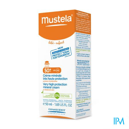 Mustela Baby Zon Minerale Creme Hoge Beschermend Gevoelige Huid 50ml