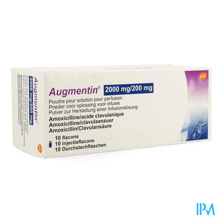AUGMENTIN P 2G/200MG PERF 25 ML 10 FLAC