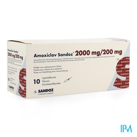 AMOXICLAV SANDOZ 2G/200MG SOL INJ FL 10