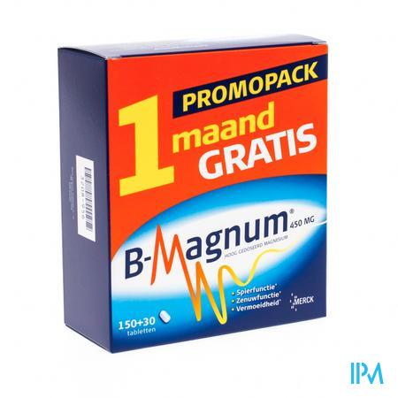 Afbeelding B-Magnum Promopack Hooggedoseerd Magnesium 90 Tabletten + 90 Tabletten Gratis.