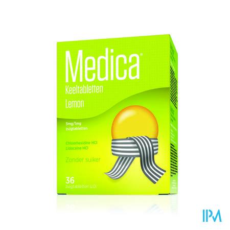 Afbeelding Medica Keeltabletten Lemon zonder Suiker 36 Zuigtabletten.