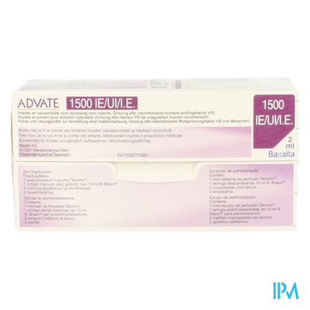 Advate 1500ui Pulv+solv Sol Inj 2ml(750iu/ml)+kit