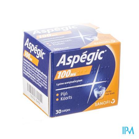 Afbeelding Aspégic 100 mg bij Pijn en Koorts 30 Zakjes.