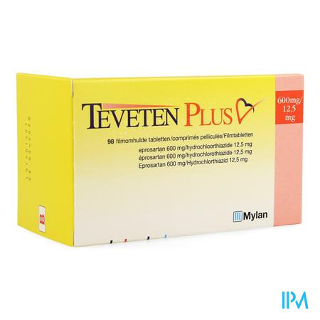 Teveten Plus 600 Comp 98 X 600mg/12,5mg