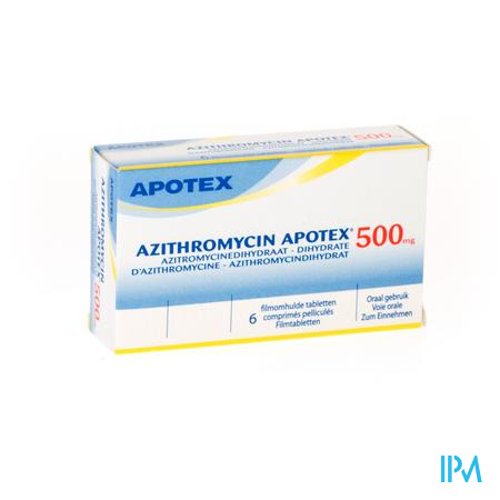 AZITHROMYCIN 500 MG APOTEX TABL OMHULDE 6X500 MG