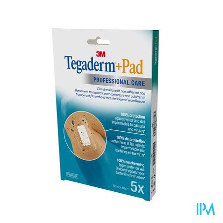 3M Tegaderm + Pad Transparant Steriel 9cm x 10cm 5 stuks