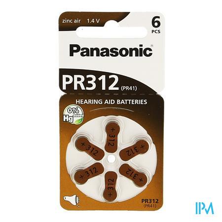 Panasonic Batterie Appareil Oreille Brun Pr 312H 6 pièces