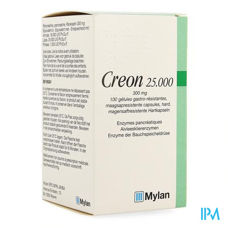 Creon 25000 Caps Maagsapresist Hard 100 X 300mg