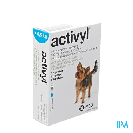 Activyl Spot-on Opl. Zr Kleine Hond Pipet 4x100mg