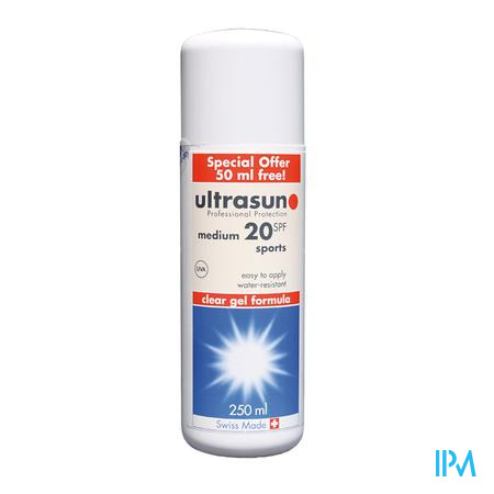 Afbeelding Ultrasun Sports SPF 20 Transparante gel 200ml + 50ml GRATIS.