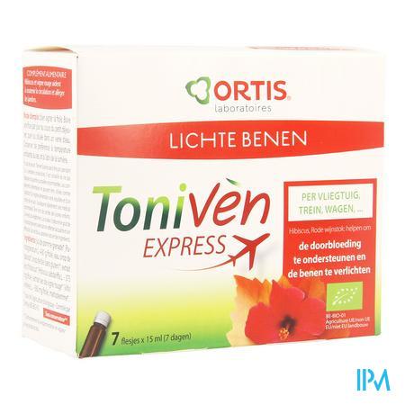 Afbeelding Ortis Toniven Express voor Lichte Benen met Hibiscus en Rode Wijnstok Flesjes 7 x 15 ml.