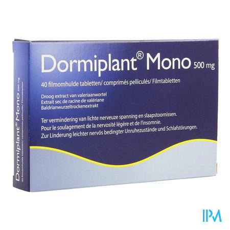 Afbeelding Dormiplant Mono 500 mg Ter Vermindering van Lichte Nerveuze Spanning en Slaapstoornissen 40 Tabletten .