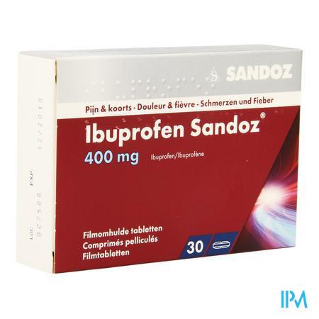 Afbeelding Ibuprofen Sandoz 400 mg 30 Tabletten.