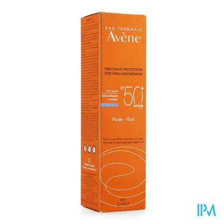 Afbeelding Avène Waterbestendige Dry Touch Zonnefluide met SPF 50+ voor Normale tot Gemengde Huid Tube 50 ml.