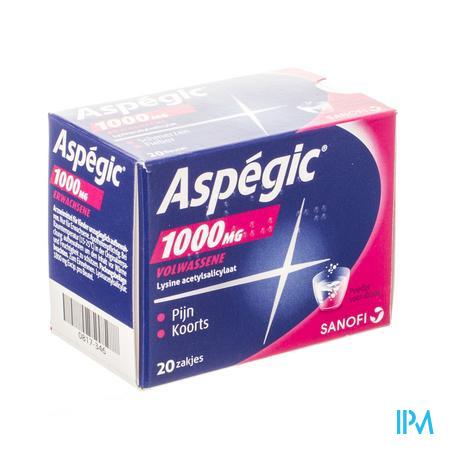 Afbeelding Aspégic 1000 mg bij Pijn en Koorts 20 Zakjes.