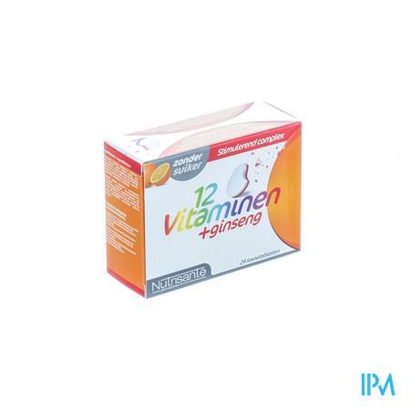 Nutrisanté 12 Vitamines + Ginsgeng Tube 2 x 12 kauwtabletten