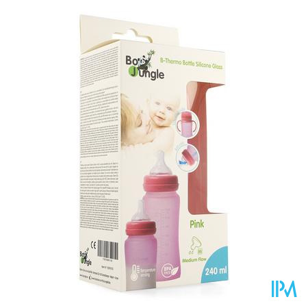 B-thermo Glass Bottle 240ml Pink