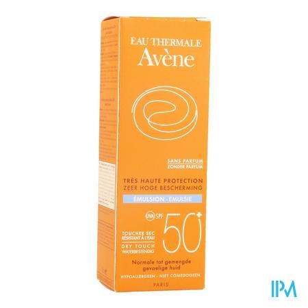 Afbeelding Avène Waterproof Dry Touch Zonne-Emulsie met SPF 50+ voor Normale tot Gemengde Huid zonder Parfum Tube 50 ml.
