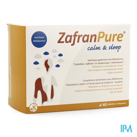 Afbeelding ZafranPure Calm and Sleep voor Vlot Inslapen en Kwaliteitsvolle Slaap en Uitgerust Gevoel 60 Tabletten.