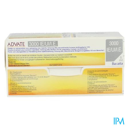 Advate 3000ui Pulv+solv Sol Inj 5ml(600iu/ml)+kit